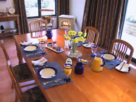 Heartland Lodge: a typical table setting in the dining room