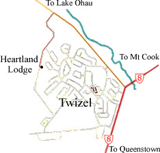 Map of Twizel showing location of Heartland Lodge
