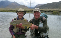 Steve and another happy fisher with a great catch - Fly fishing in New Zealand